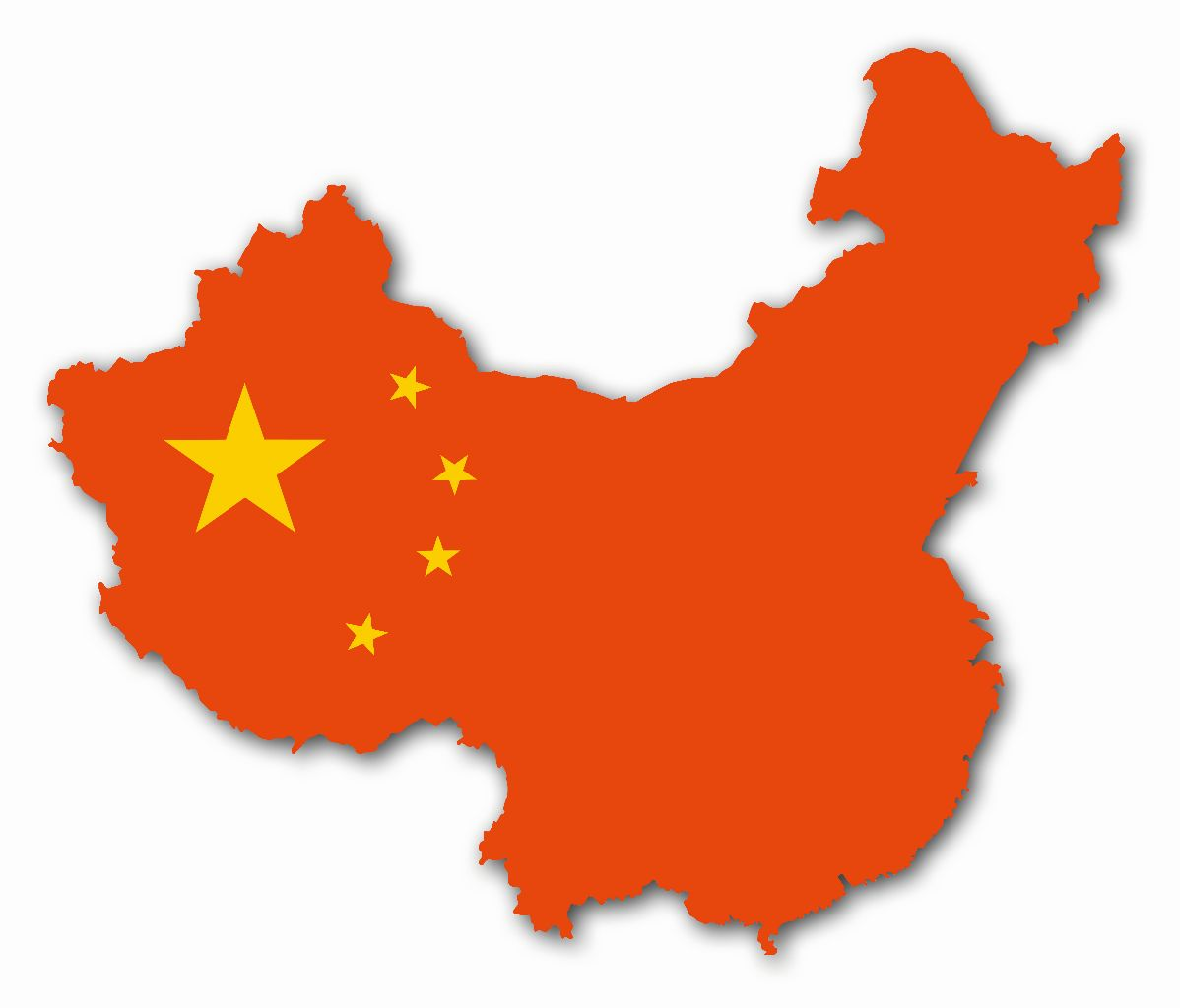 Map of China in Red with yellow stars in the left upper corner of the country