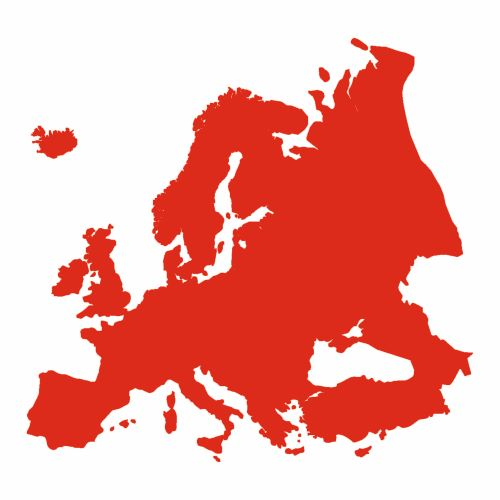 Shape of Europe in red colour