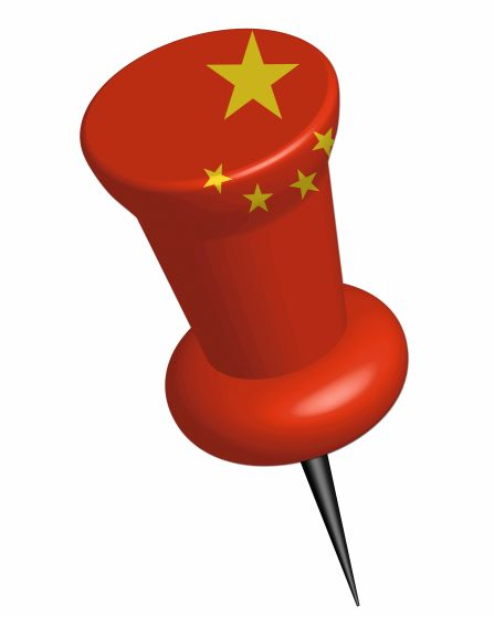 Red pin with yellow stars symbolising China