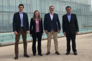 Group of people involved in the Evonik acquisition.From left: Eduardo M. Molina, Dr. Lisa Maus, Edouard Muñoz MD PhD, Juan Carlos Guzman