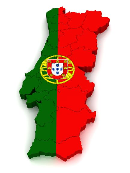 Map of Portugal in green and red